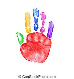印刷, 子供, 絵, 手