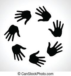 印刷, 手, 黒, アイコン