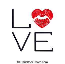 印刷, 日, 赤, バレンタイン, 形, heart., カード, 唇