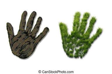 印刷, 草, 地面, 手