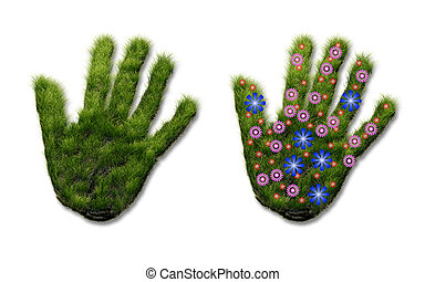 印刷, 草, 手