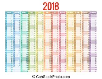 印刷, template., 立案者, orientation., calendar., months., sunday., 肖像画, 週, year., 2018, セット, 12, 始める
