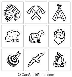 印地安人, 野的西方, 以及, the, 淘金熱, 圖象, set.