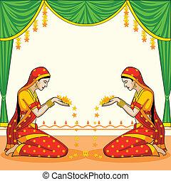 印第安語, 婦女, 歡迎, 由于, 花