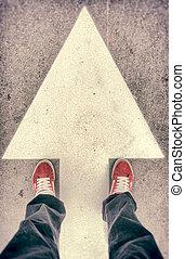 印, の上, 靴, 前方へ, 矢