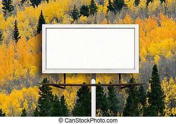 印, アスペンの木, 広告板, 秋, ブランク, 森林