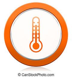 印, オレンジ, アイコン, 温度, 温度計