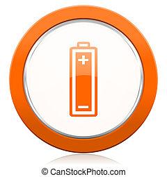 印, オレンジ, 力, アイコン, 電池