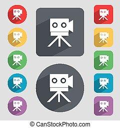印, カメラ, icon., ビデオ, button., セット, buttons., ベクトル, 内容, ...