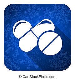 印, クリスマス, 薬, 丸薬, 平ら, ボタン, 薬, アイコン, シンボル