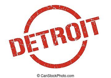 印, グランジ, デトロイト, 隔離された, stamp., ラウンド