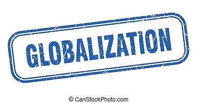印, グランジ, 広場, 青, globalization, stamp.