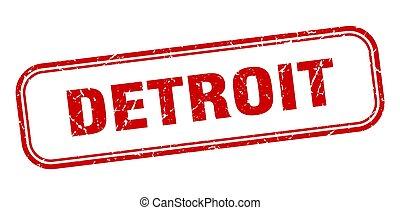 印, グランジ, stamp., デトロイト, 赤, 隔離された