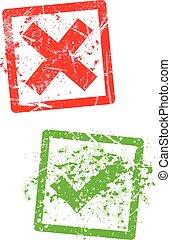 印, ゴム製 スタンプ, 緑, grungy, x, 点検, 赤
