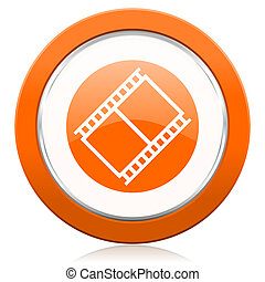 印, シンボル, オレンジ, フィルム, 映画館, 映画, アイコン