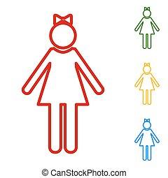 印。, セット, 線, 女の子, アイコン