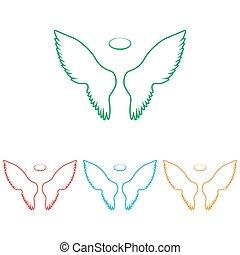 印。, セット, 翼, colorfull