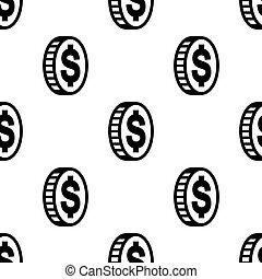 印。, ドル, パターン, アイコン, 灰色, seamless, イラスト, バックグラウンド。