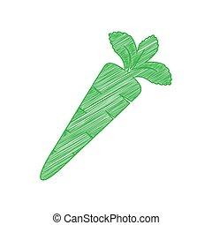印, ニンジン, バックグラウンド。, 白, 輪郭, アイコン, 緑, 落書き, illustration., 固体