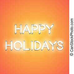 印, ネオン, -, 'happy, イラスト, 現実的, ベクトル, holidays'