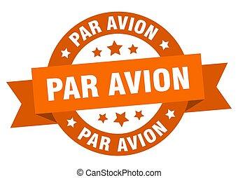 印, パー, リボン, label., avion, 隔離された, ラウンド