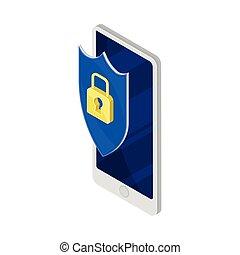 印, ベクトル, イラスト, 金, ソフトウェア, セキュリティー, 等大, 錠, smartphone
