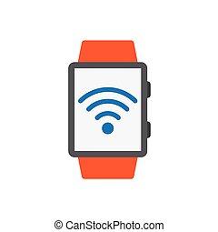 印, ベクトル, 痛みなさい, 腕時計, アイコン, wifi, 黒