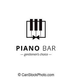 印, ベクトル, 音楽, minimalistic, ピアノ, logo.