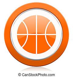 印, ボール, オレンジ, アイコン, バスケットボール