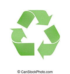 印, リサイクルされる, ペーパー, 緑の背景, リサイクルしなさい, 白