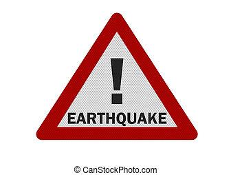 印, 写真, 隔離された, -, 現実的, earthquake', 白, 'warning