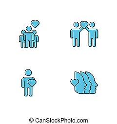 印, 友情, white., 隔離された, スタイル, アイコン, シンボル, 色, アウトライン, pictogram, ベクトル, ロゴ, illustration., 線である, 線, 愛