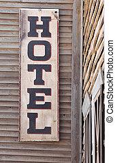 印, 古い, 木製である, ホテル