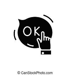 印。, 合意, 黒, 平ら, アイコン, イラスト, シンボル, 概念, ベクトル, glyph