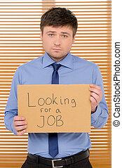 印, 失業者, 悲しい, プレート, 人, 提示, 見る, job.