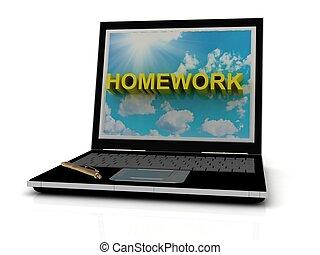 印, 宿題, ラップトップ, スクリーン