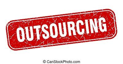 印, 広場, outsourcing, grungy, 赤, stamp.