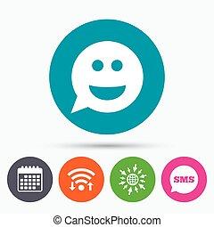 印, 微笑, シンボル。, icon., 顔, smiley