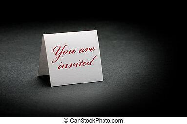 印。, 招待された, 白, 書かれた, ペーパー, 黒い背景, あなた, イメージ, 上に, 赤