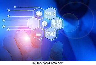印, 提示, 理性的, 明るい, 仕事, 利発, 概念, smart., テキスト, スーツ, 知識, ウエア, 形式的, プレゼンテーション, 痛みなさい, マレ, 才知に長けている, 写真, 知性, 提出すること, device., 使うこと, 人間, 天才