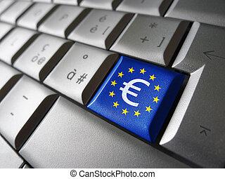 印, 旗, コンピュータのキー, eu, ユーロ