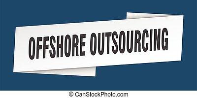 印, 沖合いに, template., リボン, ラベル, 旗, outsourcing