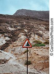 印, 注意しなさい, 岩, 警告, 落ちる, 道