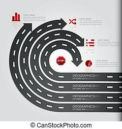 &, 印, 通り, デザイン, テンプレート, infographics