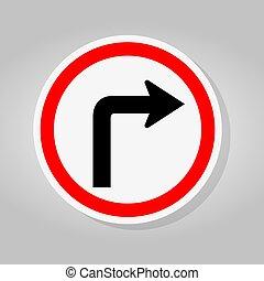 印, 道, イラスト, 交通, 隔離しなさい, ベクトル, 右折, 背景, 白