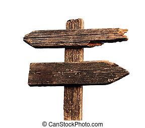 印, 道, 古い, 木製である, 隔離された, 矢, 白
