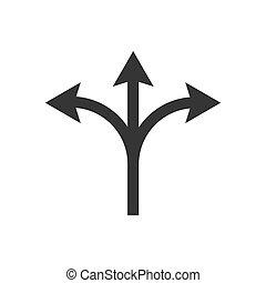 印。, 道, 矢, pointing.