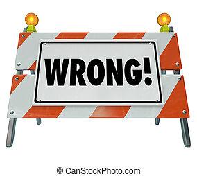 印, 道, 間違い, 建設, 間違い, ひどく, 貧しい, 悪事, 単語, 障壁