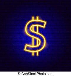 印, 金, ドル, ネオン