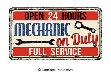 印, 錆ついた 金属, 機械工, 義務
